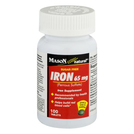 (2 Pack) Mason Natural Iron 65mg Sugar Free - 100 CT Triple Sugar Iron