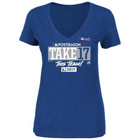 Los Angeles Dodgers Majestic Women's 2017 Postseason Participant Plus Size Authentic Collection T-Shirt - Royal - Halloween Party Los Angeles 2017