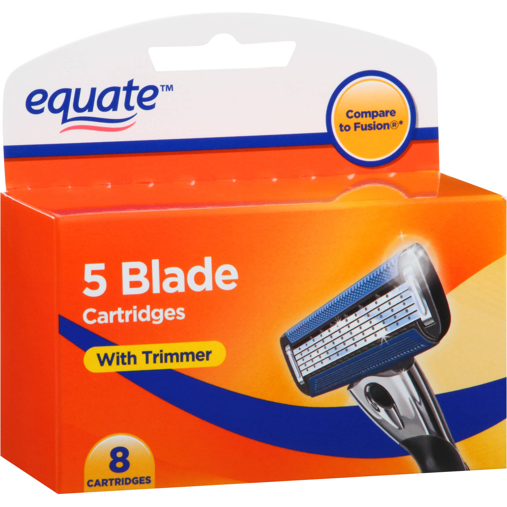 Equate 5 Blade Razor Cartridges with Trimmer for Men, 8 count