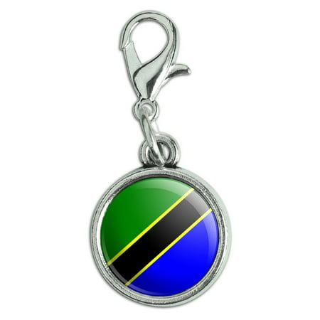 Tanzania National Country Flag Antiqued Bracelet Pendant Zipper Pull Charm with Lobster Clasp