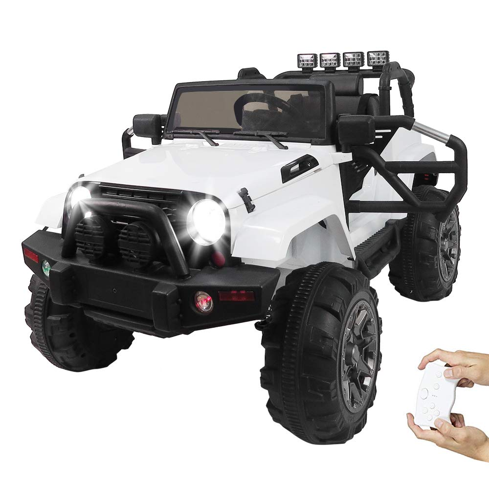 Remote Control Car Model 12V Kids Ride On Off-Road Toy Car SUV RC Remote Control LED Lights Big Wheels MP3 Music Player White