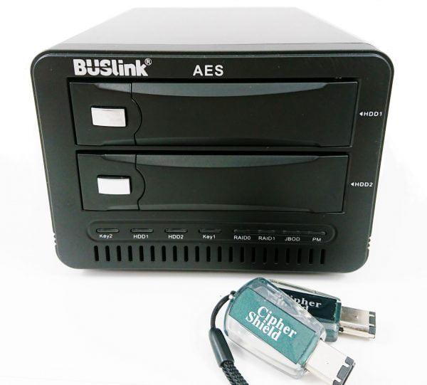 Buslink 24TB Ciphershield FIPS 140-2 256bits AES 2-bays RAID USB 3.0 / eSATA hardware encrypted external hard drive