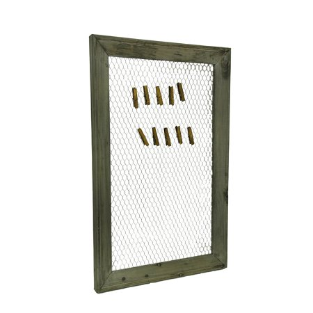 Rustic Grey Wood Framed Chicken Wire Memo Board with Clothes Pin ...