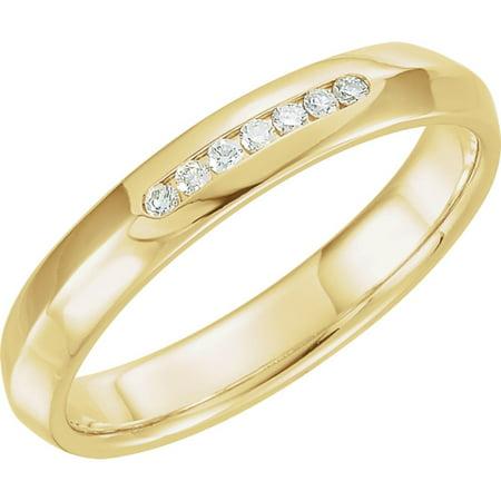 White Gold Mens Knife Edge - 14k Yellow Gold 1/10 Ct Diamond Knife Edge Comfort-Fit 4mm Wedding Men Gents Band - Size 9.5