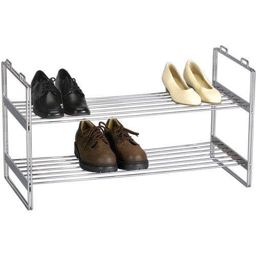Household Essentials Stackable 2-Tier Shoe Rack, Chrome Finish