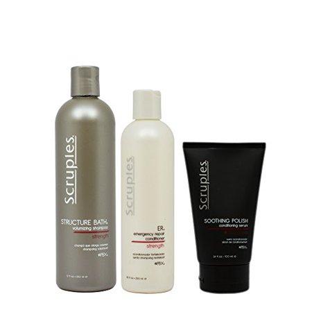 "Scruples Structure Bath Volumizing Shampoo 12oz & ER Emergency Repair Conditioner 8.5oz & Soothing Polish Conditioning Serum 3.4oz ""Set"""