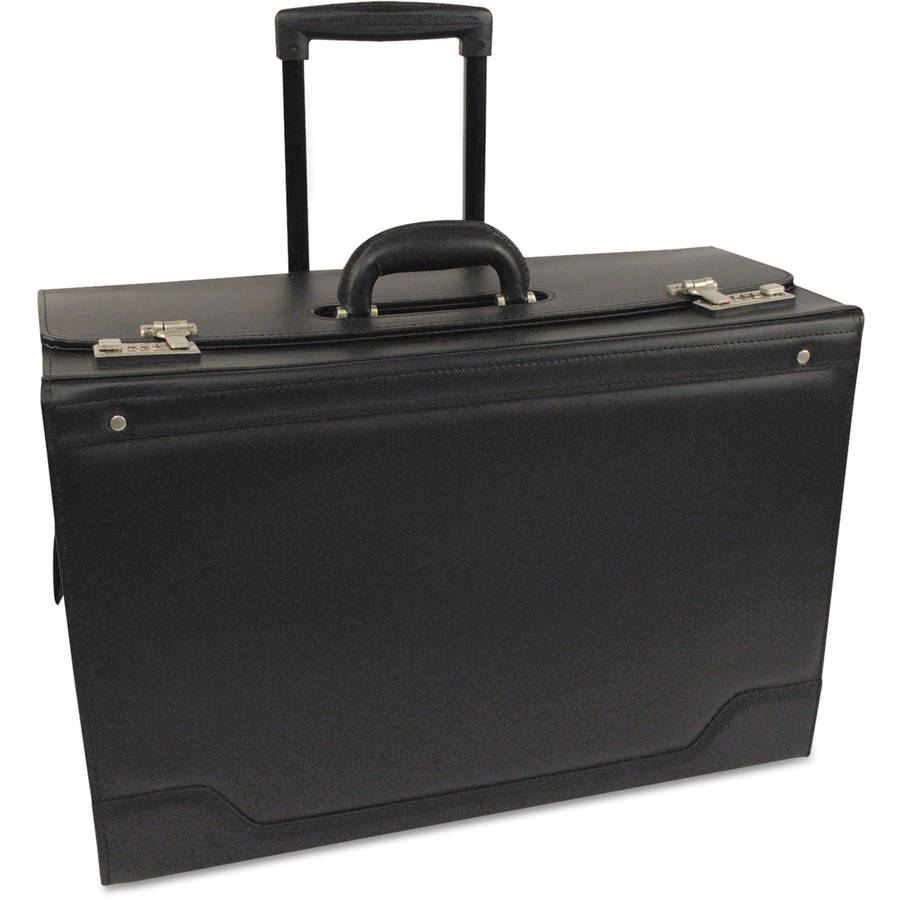 Stebco Wheeled Catalog Case, Leather-Trimmed Tufide, Black