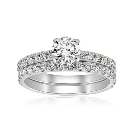 1 1/4ct Diamond Engagement Wedding Ring French Pave Set 14k White Gold (Style Pave Set Diamond)