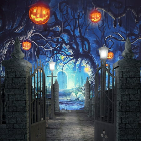 NK HOME 5x7ft Thin Vinyl Cartoon Hallowe'en Backdrop Haunted Witch Cabin Dead Wood Graveyard Silhouette Full Moon Purple Sky Horror Night Background for Party Decoraiton Photography Photo](Orange And Purple Halloween Background)