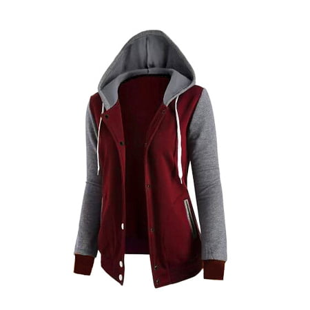 2018 Women's Fashion Casual Long Sleeve Double Layer Patchwork Hooded Zip Up Jacket Coat Outerwear
