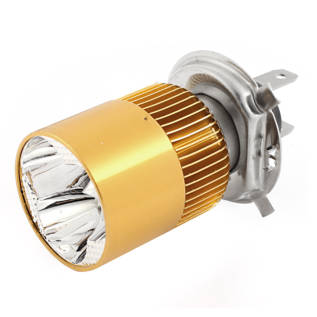 Unique Bargains Motorbike DC 9V-80V 8W H4 Headlamp 3 White  Indicator Light Foglamp Gold Tone