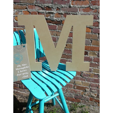 Wooden Letter, Unpainted Wood Craft Letter, 12'' M Rockwell