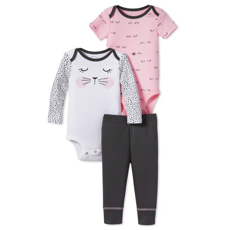 Lamaze Newborn Baby Girl Organic Cotton 3pc Bodysuit Set
