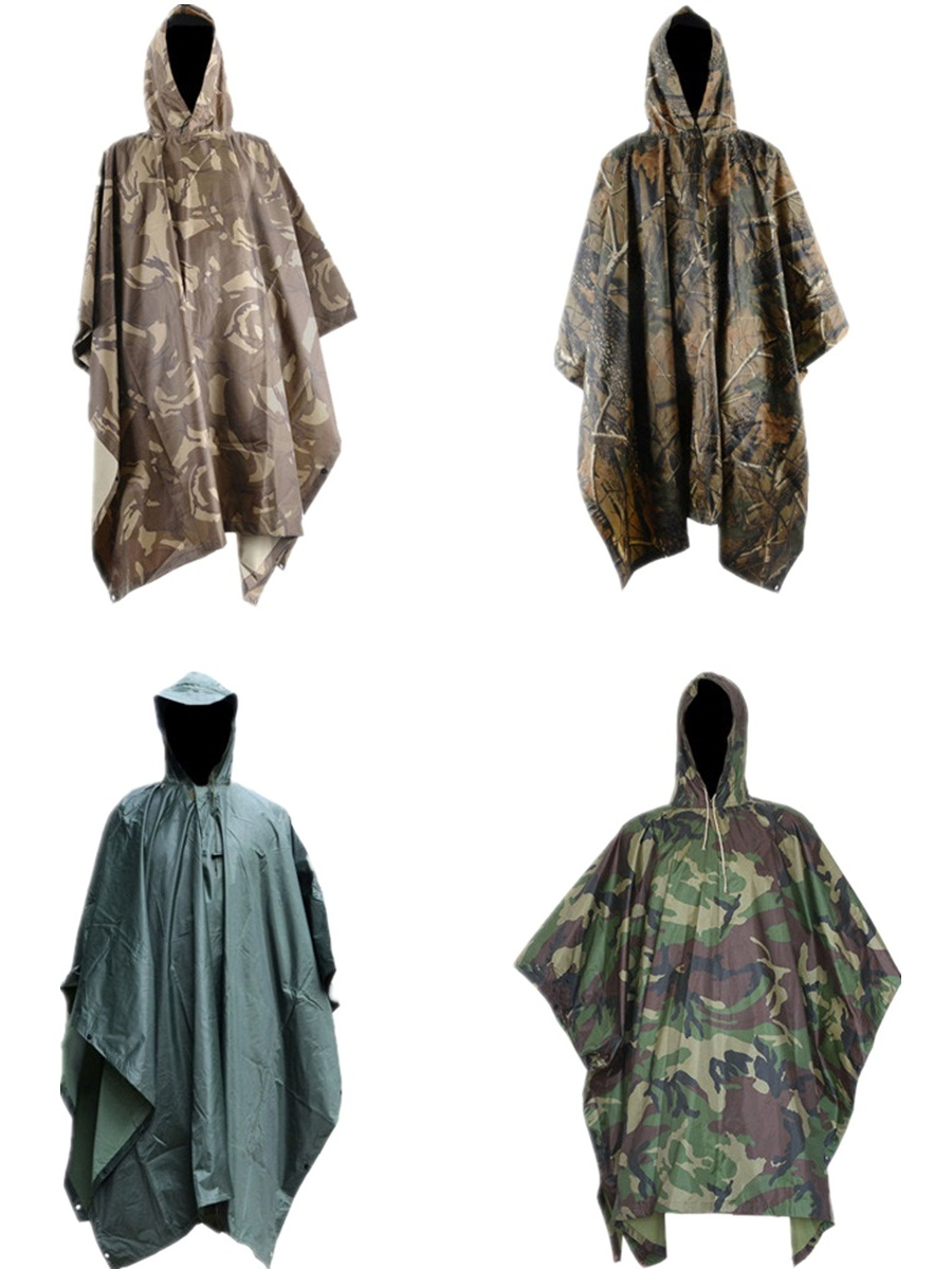 OUTERDO Waterproof Camouflage Raincoat Rain Coat Cover Cycling Outdoor Cycling Poncho by