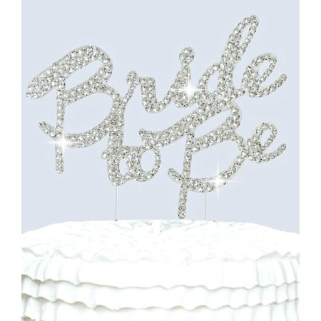 Bride to Be Cake Topper Silver Bling Bridal Shower Cake Toppers - Brunette Bride Cake Topper