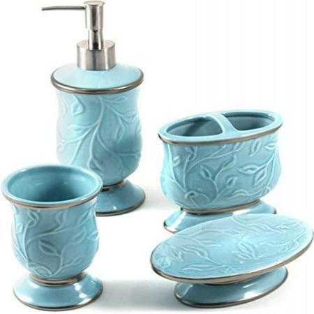 Ceramic Bathroom 4 Piece (Saturday Knight LTD Seafoam Blue Ceramic 4 Piece Bathroom Accessory)