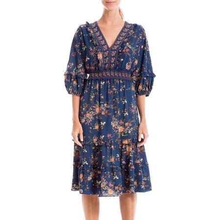 Max Studio Womens Floral Smocked Waist V-Neck Dress 16W Short Smocked V-neck Dress