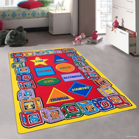 Allstar Kids / Baby Room Area Rug. Learn ABC / Alphabet Letters Shapes, Star, Cube, Football, Bright Colorful Vibrant Colors (3' 3