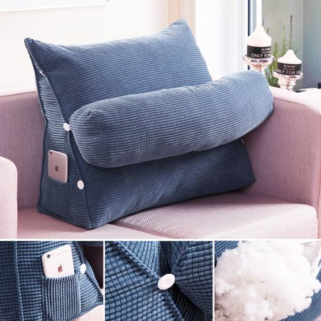 Blue Adjustable Back Wedge Cushion Pillow Sofa Bed Office Chair Rest Waist Neck Support Best