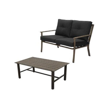 Four Seasons S2-AHX02605C Hazelwood Deep Seating Set, Cushioned Aluminum Love Seat + Table - Quantity 1 ()