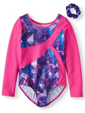 Danskin Now Girl's Space Print Dance & Gymnastics Long Sleeve Leotard with Keyhole Back (Little Girls & Big Girls)