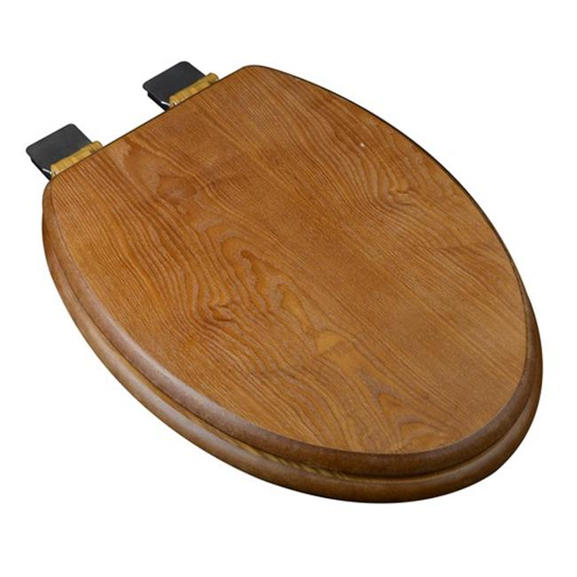 Plumbing Technologies 5F1E1-18BN Decorative Wood Elongated Toilet Seat with Brushed Nickel Hinges, Dark Brown Oak