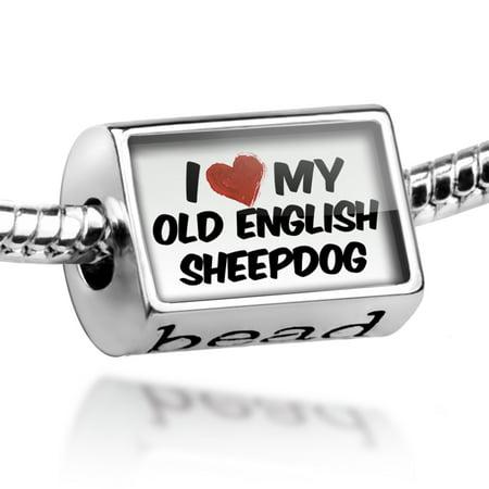 Old English Sheepdog Photo Charm (Bead I Love my Old English SheepDog from England Charm Fits All European Bracelets)