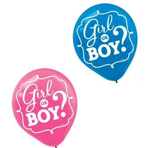 Baby Shower Gender Reveal 'Girl or Boy' Latex Balloons (15ct)