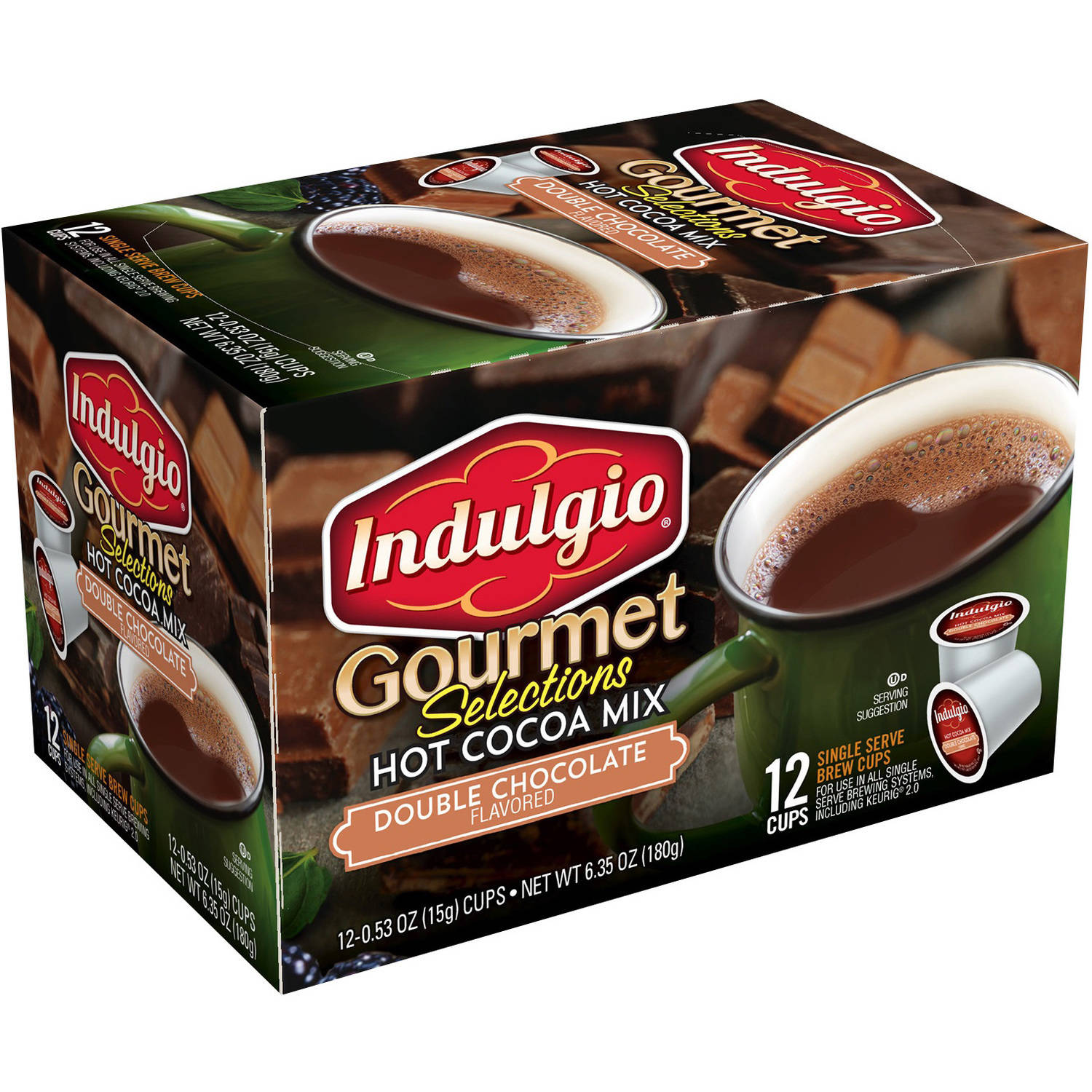 Indulgio Gourmet Selections Double Chocolate Hot Cocoa Mix K-Cups, 0.53 oz, 12 count by Trilliant Food