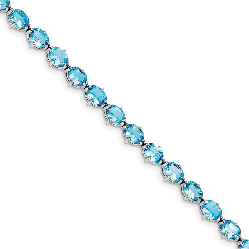 "925 Sterling Silver Light Swiss Blue Simulated Topaz Bracelet -7"" (7in x 5mm) by"