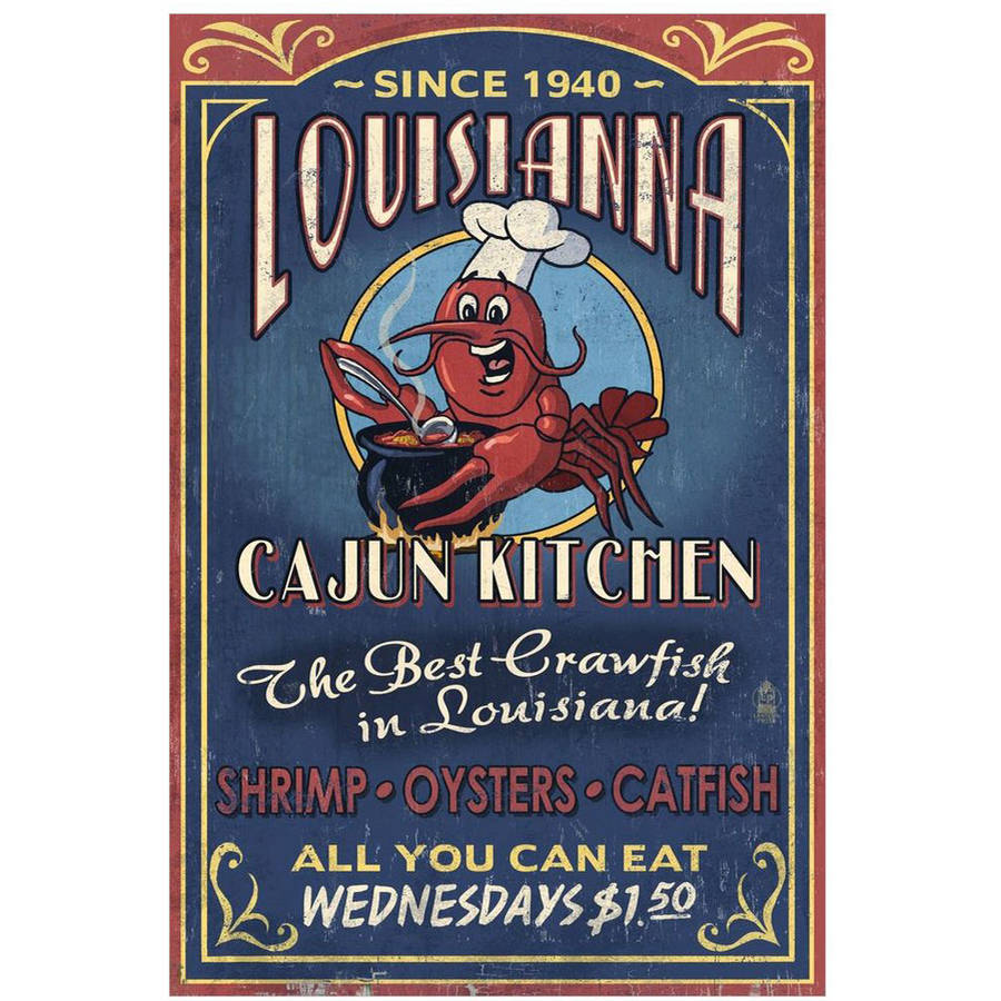 Louisiana - Cajun Kitchen Crawfish Vintage Sign: Retro Travel Poster by Eazl Cling