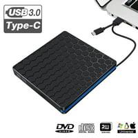 External DVD Drive, USB 3.0 Type C CD Drive, Dual Port DVD-RW Player, Slim Portable External DVD/CD Rewriter Burner Drive High Speed Data Transfer for , Notebook, Desktoop
