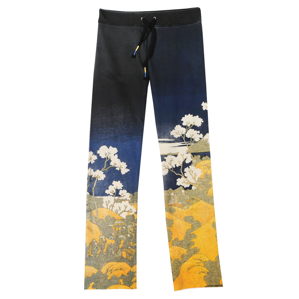 Women's Asian Print French Terry Sweatpants - Black with ...