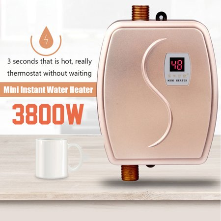 3800W Electric Mini Instant Tankless Water Heater Constant Temperature for Kitchen Washing Faucet Bathroom Shower Heating Tool 6.6 x 5.3 x 2.4