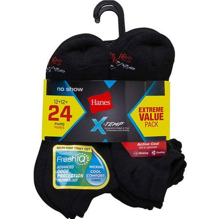Hanes Men's X-Temp Active Cool No Show Socks Value 24-Pack