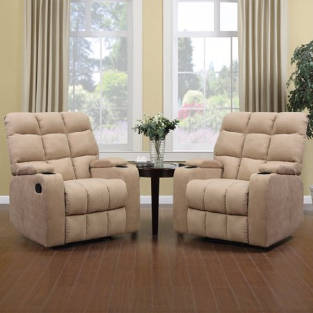 ProLounger Storage Arm Wall Hugger Microfiber Recliner, Multiple Colors, Set of 2
