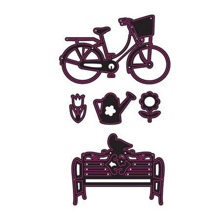 Die Cut Bench Bike Flower 5Pc
