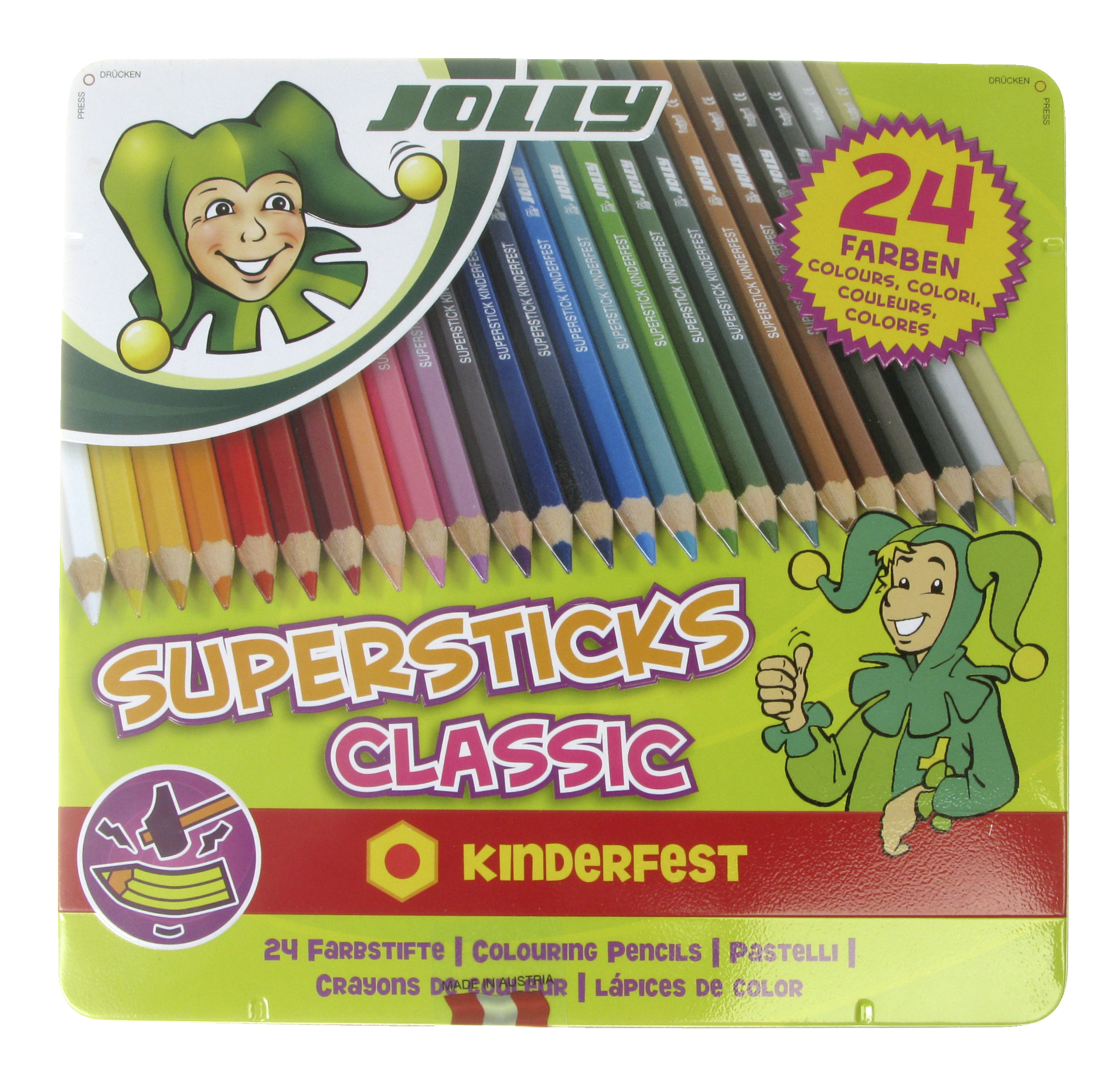 Jolly Supersticks Colored Pencils with Tin, Assorted Colors, Set of 24