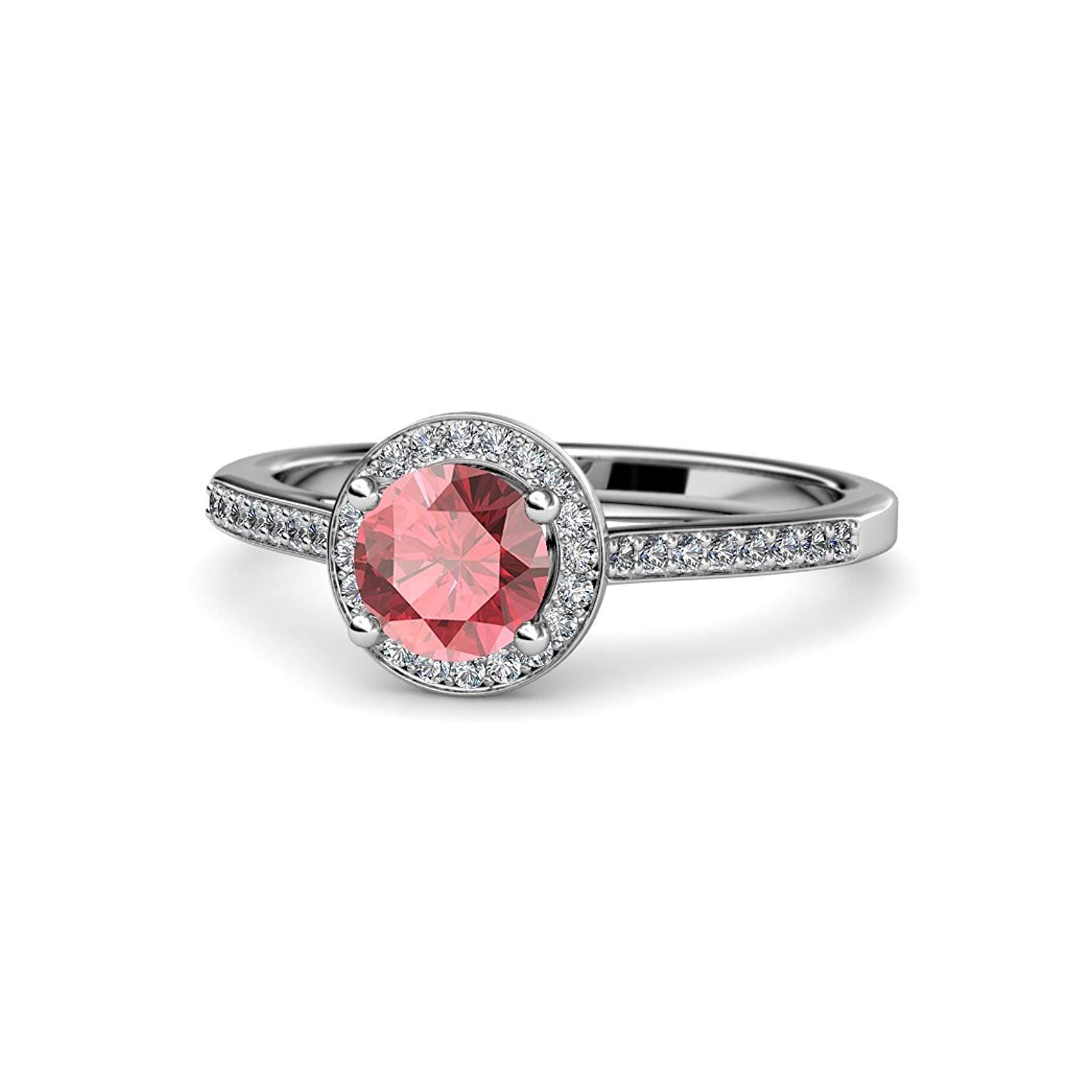 Pink Tourmaline and Diamond (SI2-I1, G-H) Halo Engagement Ring 1.26 ct tw in 14K White Gold.size 5.5 by TriJewels