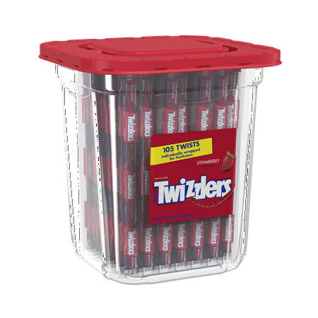 Twizzlers, Strawberry Twists Licorice Chewy Candy Tub, 33.3 Oz, 105 Count - Licorice Twizzlers
