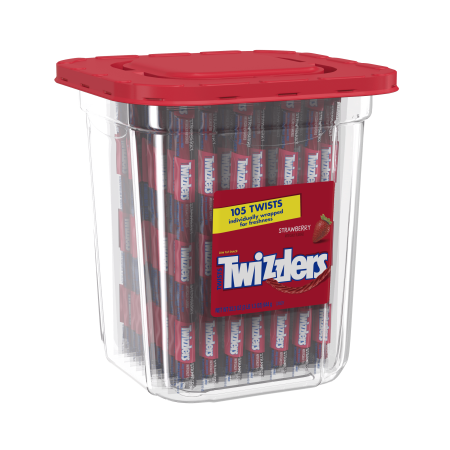(2 Pack) Twizzlers, Strawberry Twists Licorice Chewy Candy Tub, 33.3 Oz, 105 Ct