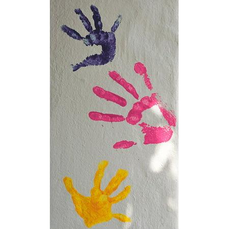 Canvas Print Palm Children Hands Print Finger Color Paint Stretched Canvas 10 x 14
