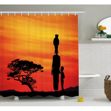 African Woman Shower Curtain, Rural Countryside Landscape Mother and Child at Sunset Acacia Tree, Fabric Bathroom Set with Hooks, 69W X 75L Inches Long, Yellow Scarlet Black, by Ambesonne - Mom Shower