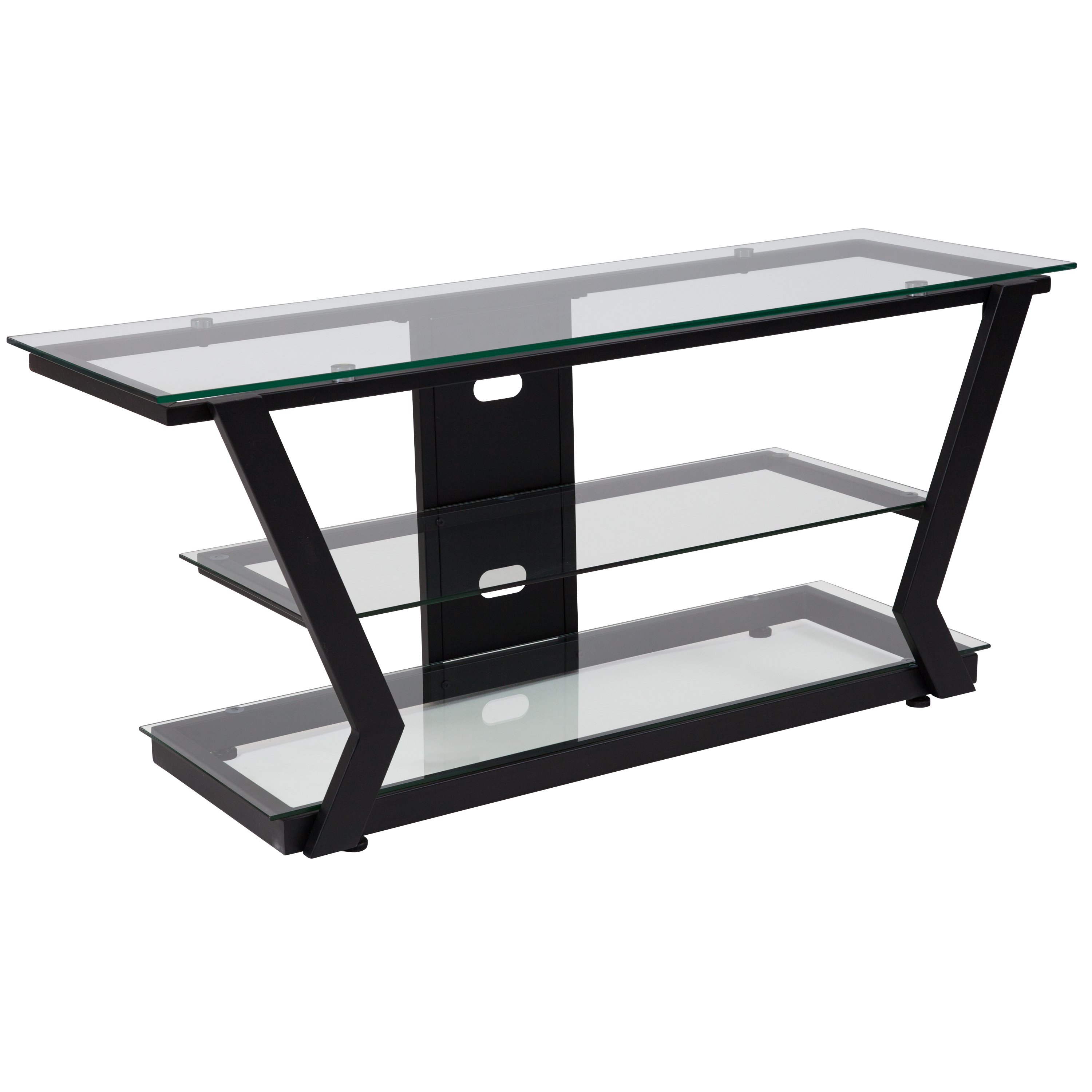 Flash Furniture Harbor Hills Glass TV Stand with Black Metal Frame