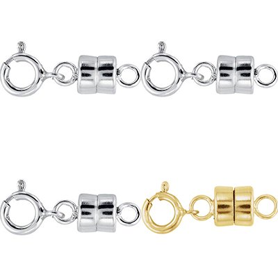 1 Each NEW SOLID 14k Yellow Gold and .925 Sterling Silver Barrel Magnetic Converter Necklace Clasp 14k Gold Barrel