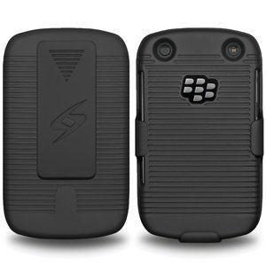 Blackberry Curve Belt Clip - Premium Rubberized Shell Holster Combo Slim Shell Case + Swivel Belt Clip Holster for BlackBerry Curve 9315, BlackBerry Curve 9310, BlackBerry Curve 9320, BlackBerry Curve 9220 - Black