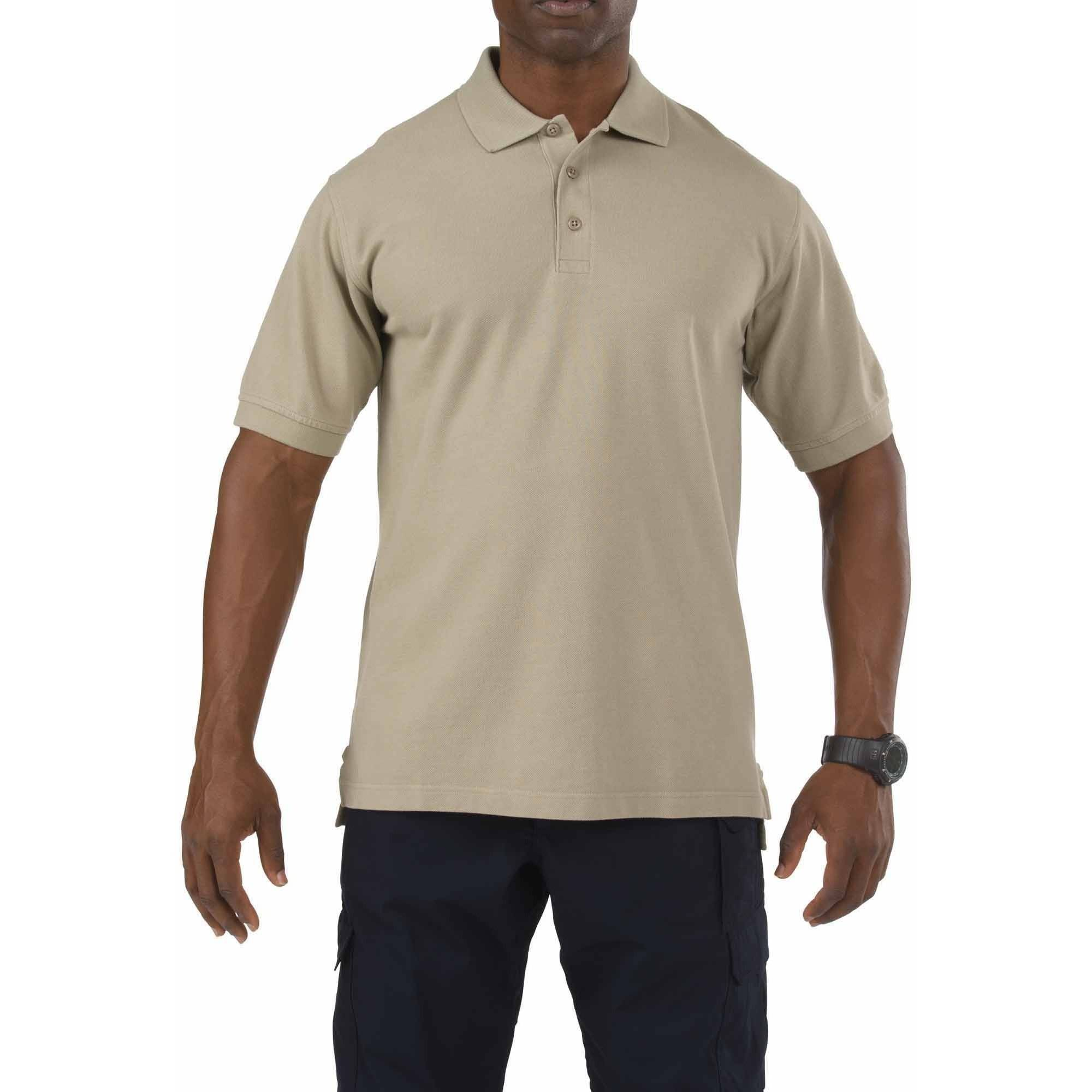 Short Sleeve Professional Polo Shirt, Silver Tan, Tall
