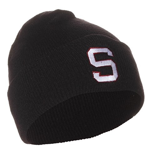 NCAA Stanford University Cardinals Winter Knit Beanie Hat Cap (One Size, Cuffed Black) by