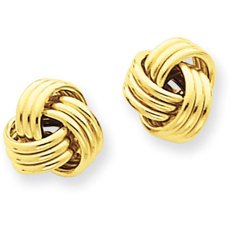 14kt Yellow Gold Polished Triple Knot Post (Polished Knot Earrings)