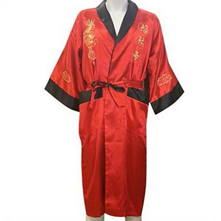 THY COLLECTIBLES Unisex Reversible Silk Satin Robe Kimono Relaxation Bathrobe Dragon Embroidered Night Gown (Red, Asian XXXL = US XXL)](Red Satin Robes)